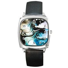 Abstract Painting Background Modern Square Metal Watch