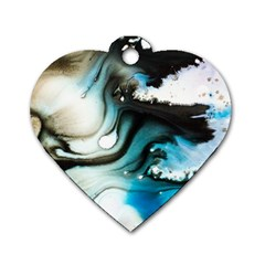Abstract Painting Background Modern Dog Tag Heart (two Sides)