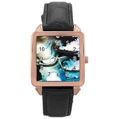 Abstract Painting Background Modern Rose Gold Leather Watch