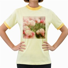 Flowers Roses Art Abstract Nature Women s Fitted Ringer T Shirts