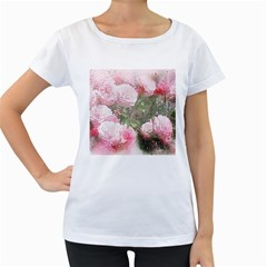 Flowers Roses Art Abstract Nature Women s Loose Fit T Shirt (white)