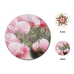 Flowers Roses Art Abstract Nature Playing Cards (round)