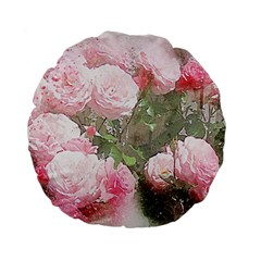 Flowers Roses Art Abstract Nature Standard 15  Premium Flano Round Cushions