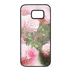 Flowers Roses Art Abstract Nature Samsung Galaxy S7 Edge Black Seamless Case