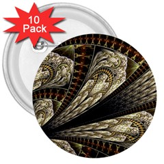 Fractal Abstract Pattern Spiritual 3  Buttons (10 Pack)