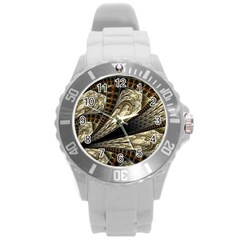 Fractal Abstract Pattern Spiritual Round Plastic Sport Watch (l)