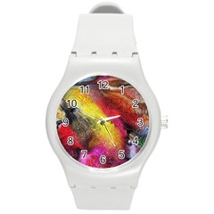 Background Art Abstract Watercolor Round Plastic Sport Watch (m)