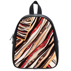 Fabric Texture Color Pattern School Bag (small)