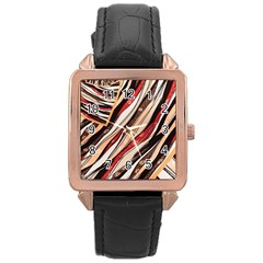 Fabric Texture Color Pattern Rose Gold Leather Watch