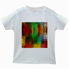 Color Abstract Background Textures Kids White T Shirts