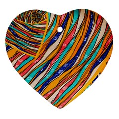 Fabric Texture Color Pattern Heart Ornament (two Sides)