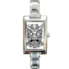 Japanese Onigawara Mask Devil Ghost Face Rectangle Italian Charm Watch