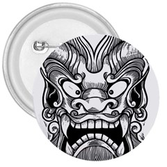 Japanese Onigawara Mask Devil Ghost Face 3  Buttons
