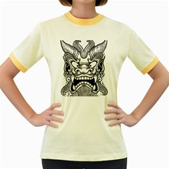Japanese Onigawara Mask Devil Ghost Face Women s Fitted Ringer T Shirts