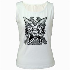 Japanese Onigawara Mask Devil Ghost Face Women s White Tank Top