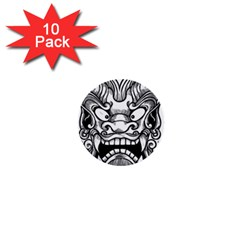 Japanese Onigawara Mask Devil Ghost Face 1  Mini Buttons (10 Pack)