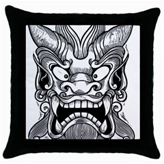 Japanese Onigawara Mask Devil Ghost Face Throw Pillow Case (black)