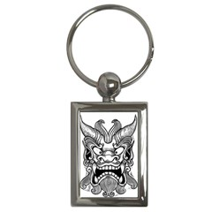 Japanese Onigawara Mask Devil Ghost Face Key Chains (rectangle)