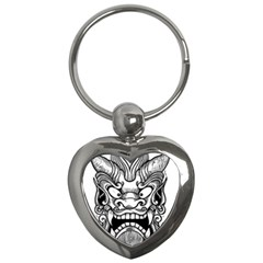 Japanese Onigawara Mask Devil Ghost Face Key Chains (heart)