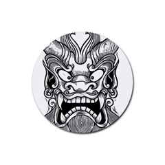 Japanese Onigawara Mask Devil Ghost Face Rubber Coaster (round)