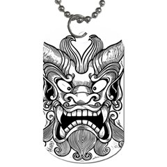 Japanese Onigawara Mask Devil Ghost Face Dog Tag (one Side)