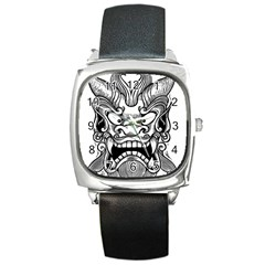 Japanese Onigawara Mask Devil Ghost Face Square Metal Watch