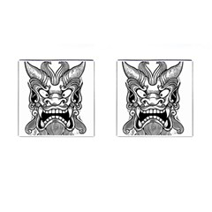 Japanese Onigawara Mask Devil Ghost Face Cufflinks (square)