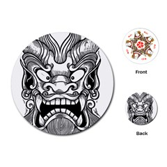 Japanese Onigawara Mask Devil Ghost Face Playing Cards (round)