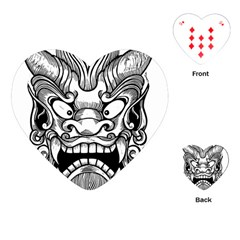 Japanese Onigawara Mask Devil Ghost Face Playing Cards (heart)