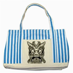 Japanese Onigawara Mask Devil Ghost Face Striped Blue Tote Bag