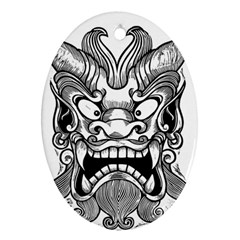 Japanese Onigawara Mask Devil Ghost Face Oval Ornament (two Sides)