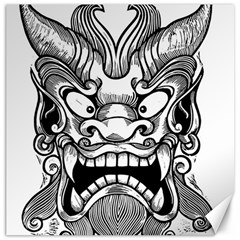 Japanese Onigawara Mask Devil Ghost Face Canvas 20  X 20