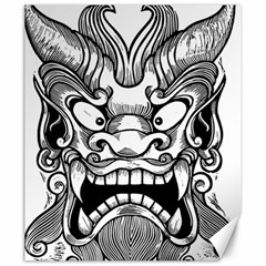 Japanese Onigawara Mask Devil Ghost Face Canvas 20  X 24