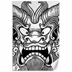 Japanese Onigawara Mask Devil Ghost Face Canvas 24  X 36