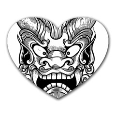 Japanese Onigawara Mask Devil Ghost Face Heart Mousepads