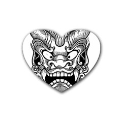Japanese Onigawara Mask Devil Ghost Face Rubber Coaster (heart)