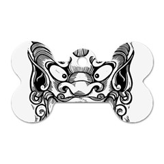 Japanese Onigawara Mask Devil Ghost Face Dog Tag Bone (two Sides)