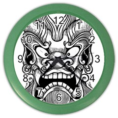 Japanese Onigawara Mask Devil Ghost Face Color Wall Clocks