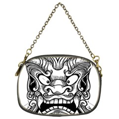 Japanese Onigawara Mask Devil Ghost Face Chain Purses (two Sides)
