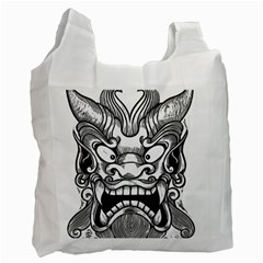 Japanese Onigawara Mask Devil Ghost Face Recycle Bag (one Side)