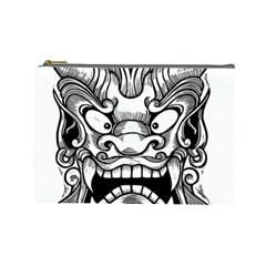 Japanese Onigawara Mask Devil Ghost Face Cosmetic Bag (large)