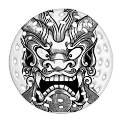 Japanese Onigawara Mask Devil Ghost Face Round Filigree Ornament (two Sides)