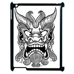 Japanese Onigawara Mask Devil Ghost Face Apple Ipad 2 Case (black)