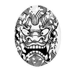 Japanese Onigawara Mask Devil Ghost Face Oval Filigree Ornament (two Sides)