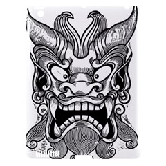 Japanese Onigawara Mask Devil Ghost Face Apple Ipad 3/4 Hardshell Case (compatible With Smart Cover)