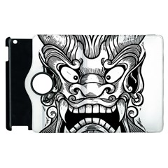Japanese Onigawara Mask Devil Ghost Face Apple Ipad 3/4 Flip 360 Case