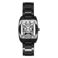 Japanese Onigawara Mask Devil Ghost Face Stainless Steel Barrel Watch