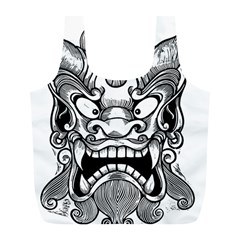 Japanese Onigawara Mask Devil Ghost Face Full Print Recycle Bags (l)