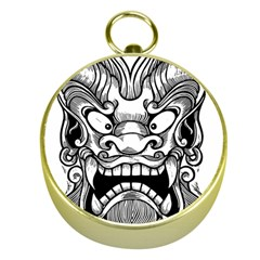 Japanese Onigawara Mask Devil Ghost Face Gold Compasses