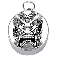 Japanese Onigawara Mask Devil Ghost Face Silver Compasses